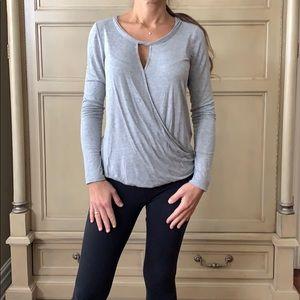 Max Studio cross-front long sleeve blouse